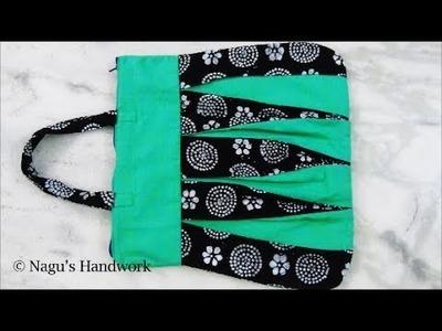 Handbag cutting and stitching in tamil.Easy handmade bag.Lunch bag.How to make handbag at home