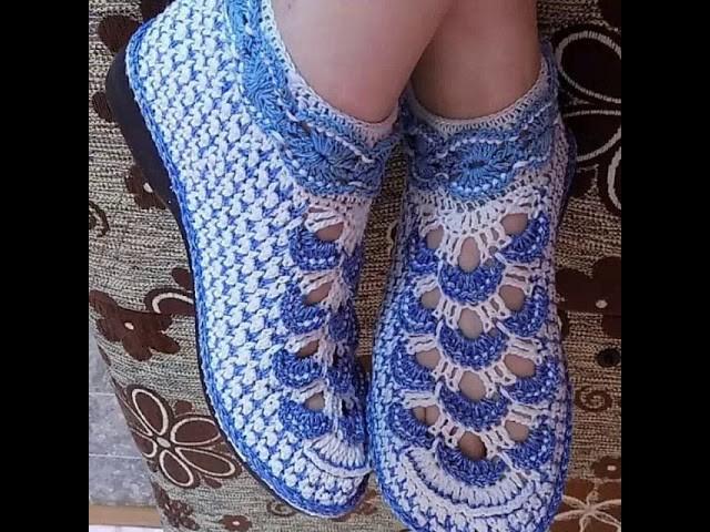 Handmade crochet adult shoes pattern