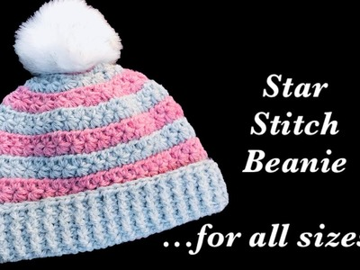 How to crochet fast and easy star stitch crochet beanie hat for adults or any size  #167
