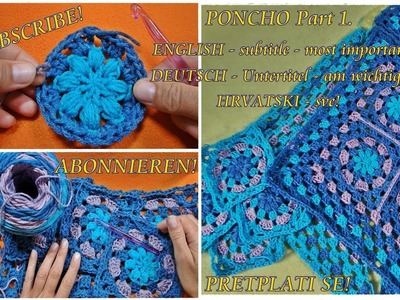 How to crochet sweet Granny Squares Poncho, Cardigan Part 1 - Step by step