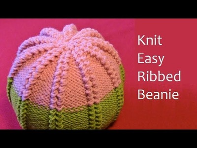 How to Knit a Beanie - Easy Knitting Pattern - Christmas Ribbed Winter Hat | Tutorial