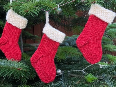 How to Knit a Mini Christmas Stocking - FULL TUTORIAL!