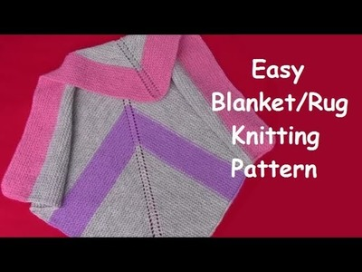 How to Knit Easy Baby Blanket,  Rug, Throw - Knitting Pattern | Beginner's Guide