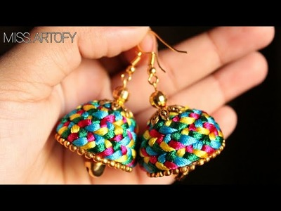 How to make Braided jhumka of 4 Colours|| By MISS. ARTOFY