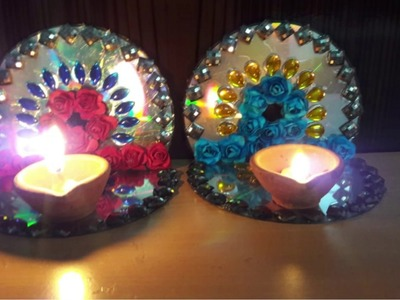 How to make Decorative Diya stand,Diya stand from Old CD, Diwali home decoration ideas, K.K. Craft.