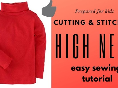 How to make Easy high neck cutting and stitching tutorial.baby winter dress