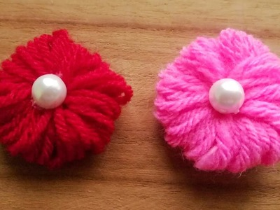 How to make Easy Woolen flowers step by step. Easy woolen flowers.  wool flowers without crochet