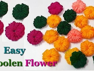 How to make Easy Woolen Flowers step by step at home | Handmade woolen thread flower making idea