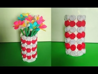 How to make flower vase with paper | How to make flower pot