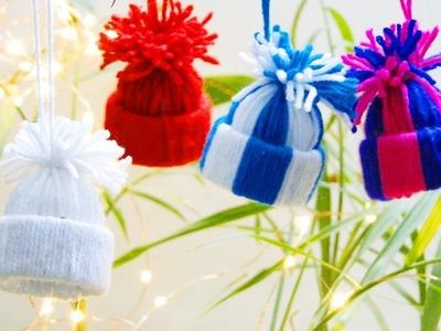 How To Make Mini Yarn Hats Christmas Ornaments