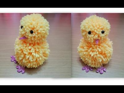 How to make pom pom chick.pom pom chicken with wool