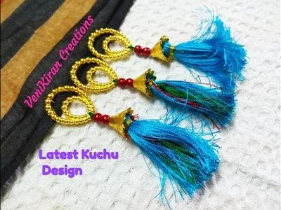 How to Make Saree Tassel.Kuchu design with Beads @ Home - Design 79::Tutorial
