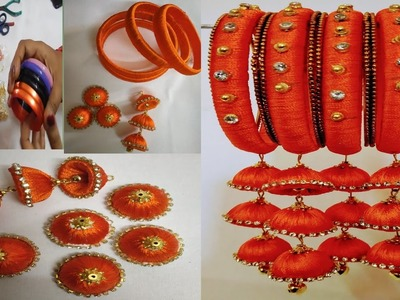 HOW TO MAKE SILK THREAD BANGLES WITH HANGINGS