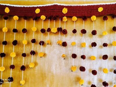How to make wool pom pom flowers toran.bandhanbar
