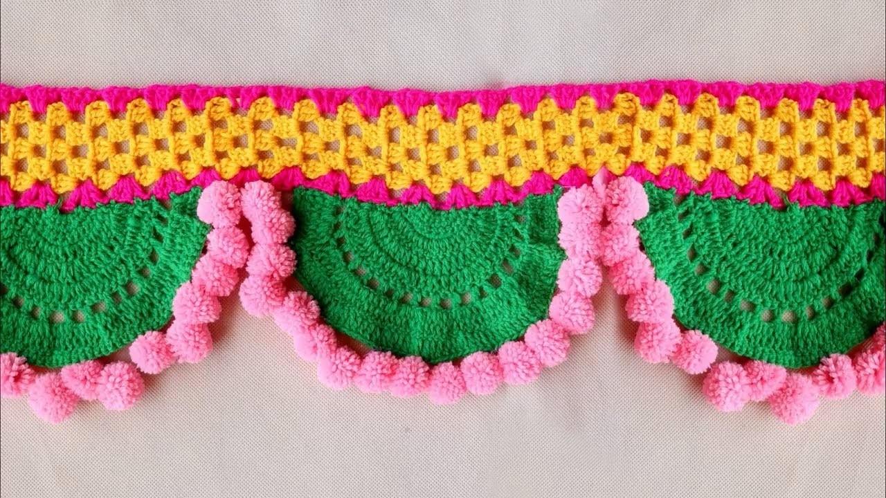 How to make Woolen crochet Toran Pattern || Door Hanging Toran from Woolen || Handmade Door Hanging