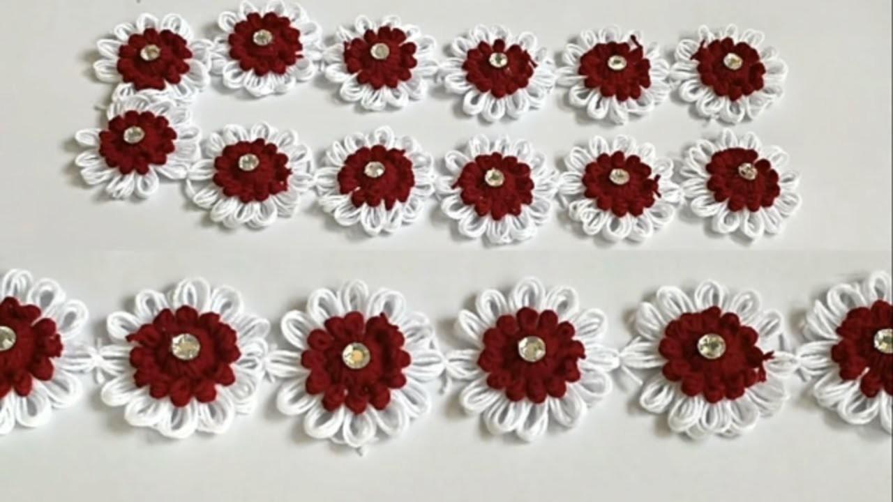 How to Make Woolen Flowers || Easy Toran Patti Making From Woolen Flowers