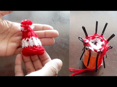 No Knit No crochet easy Winter Woollen Cap for Laddu Gopal using Cardboard | Quicky Crafts