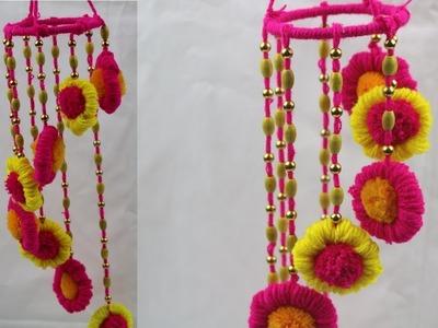 Pom Pom Door Hanging || How to Make Door Hanging Toran - Woolen Crafts Ideas - DIY arts and crafts