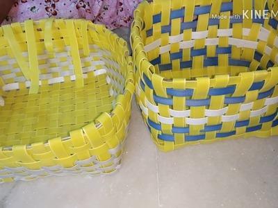 Recycling of plastic ribbon. How to make basket with plastic ribbon. Supriya Talukdar.