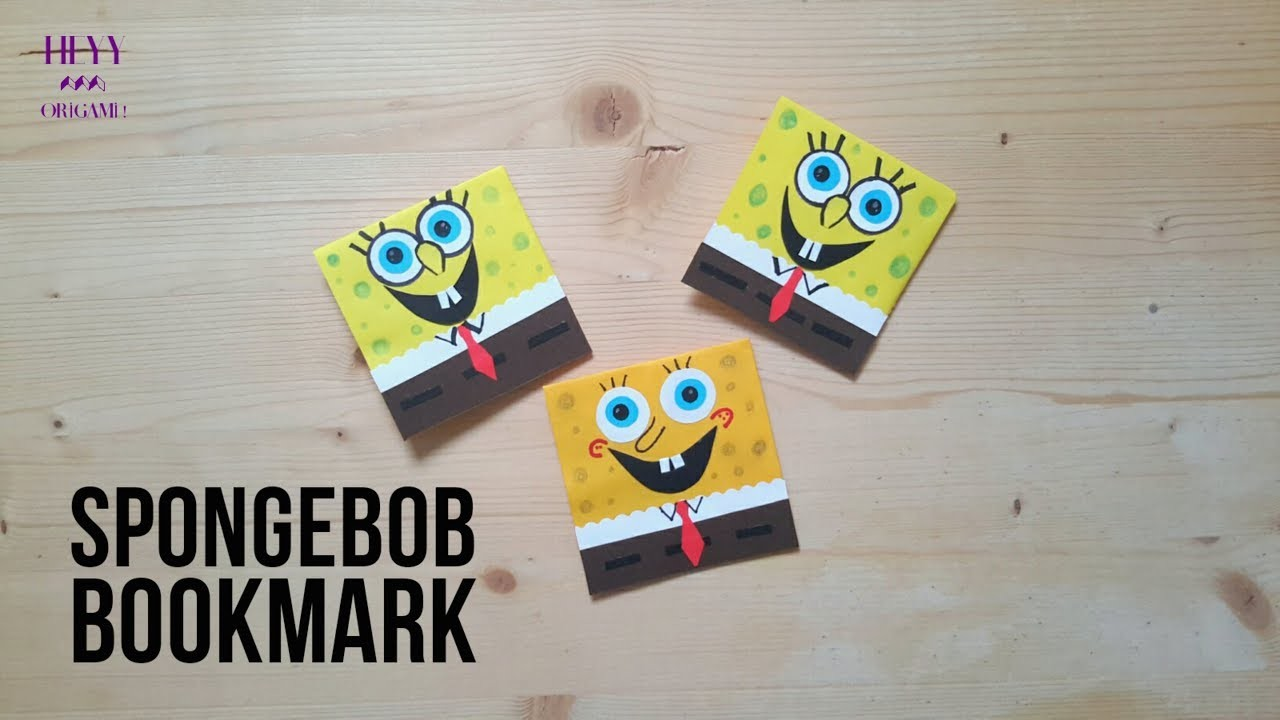 Spongebob Bookmark-How to make paper origami kirigami spongebob corner bookmark