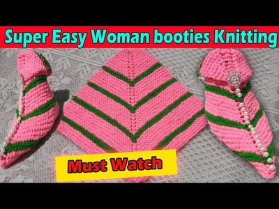 Super Easy Woman Booties Knitting || In Hindi.