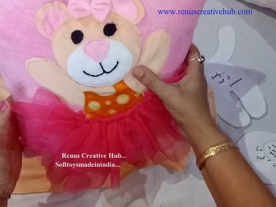 Teddy Ballerina Cushion Cover. .  DIY How to make cushion cover at home