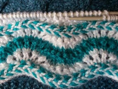 Two colour knitting design #-21|| Girls top knitting drsign  ||