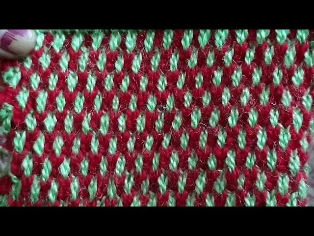 Two Colours Honeycomb Stitch Knitting Design Easy Knitting