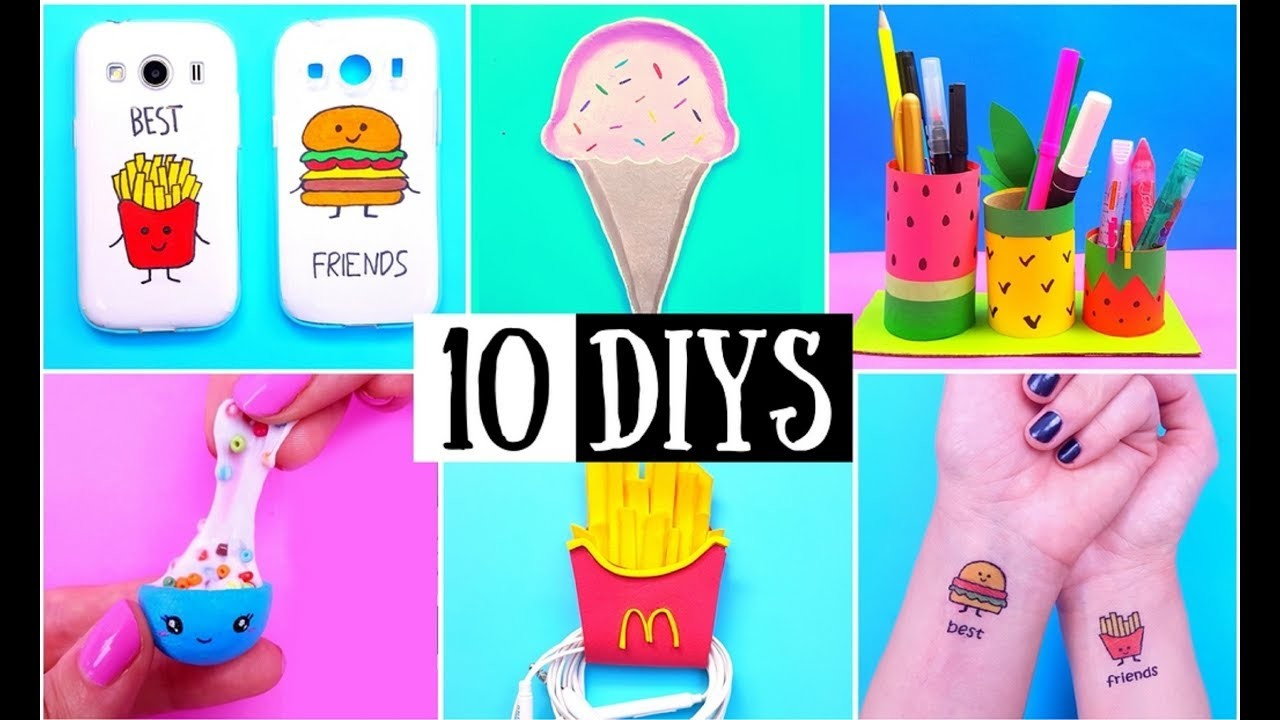 10 DIY (Food Inspired) BFF Gift Ideas, School Supplies, Temporary Tattoo & Phone Case COMPILATION!