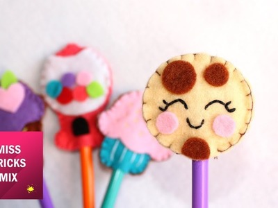 4 Cute Felt Pencil Toppers Supplies For Back To School. Felt Crafts.