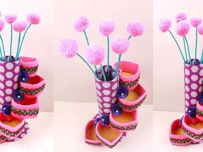 Best Out Of Waste TISSUE PAPER ROLL | Plastic bottle organizer | WOOLEN flower vase