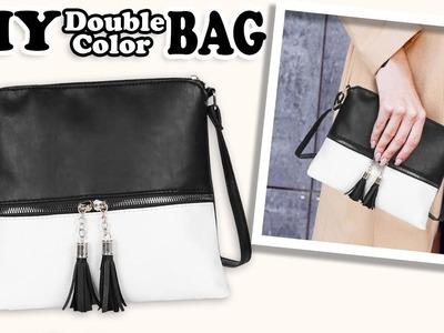 CUTE DIY CROSSBODY BAG DESIGN. Tassel Flap Double Color Purse Bag Tutorial