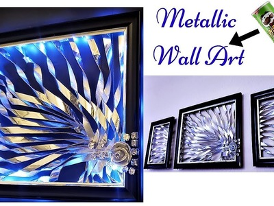 DIY METALLIC  WALL ART| RECYCLE AND DECORATE| INEXPENSIVE HOME DECORATING IDEA 2019