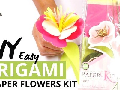 DIY Origami Kit Of 5 Five Paper Flowers - Easy Scrapbooking Tutorial