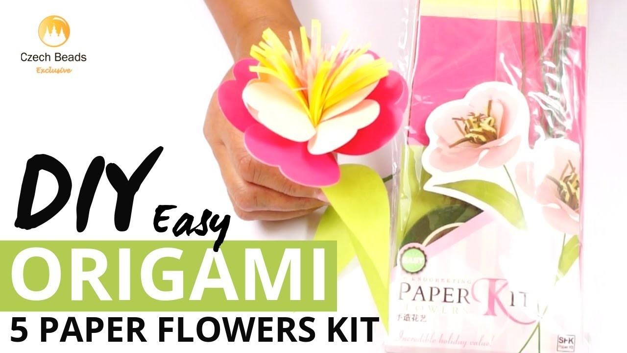 DIY Origami Kit Of 5 Five Paper Flowers - Easy Scrapbooking Tutorial
