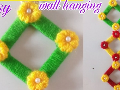 Easy woolen wall hanging. woolen wall hanging ideas. Room decor