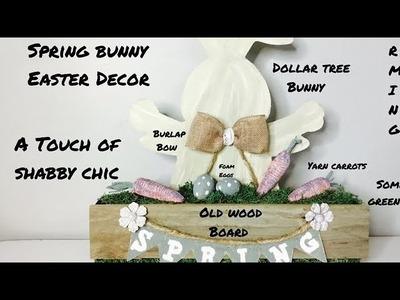 Farmhouse Style Spring Bunny Easter Decor.Dollar Tree DIY