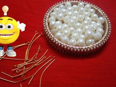 HANDMADE JEWELLERY    How to make Pearl Beaded Necklace    Diy    jewellery making at home    Diyart