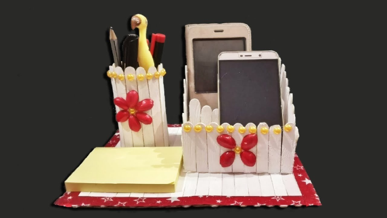 Homemade Pen stand and Mobile phone holder with ice cream sticks | Simple Artworks