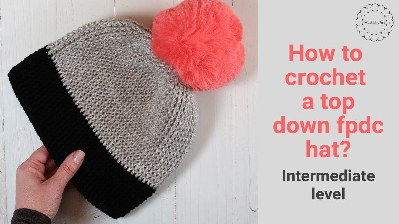 How to crochet a front post double crochet hat adult small size