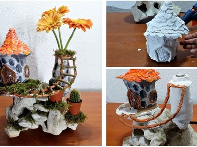 How to make a Fairy house on a stone with a vase