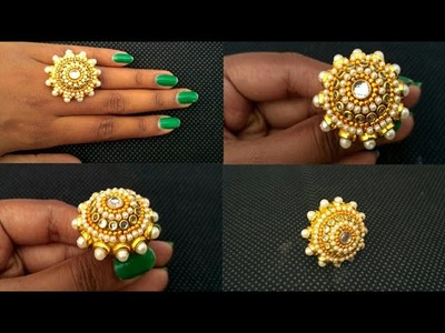 How To Make Beautiful Designer Finger Ring | DIY Partywear Kundan Ring Making at Home | Bridal Ring