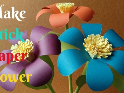 How To Make Beautiful Stick Flower From Paper #5 | Diy Crafts Paper Flower | Home Diy Crafts Paper