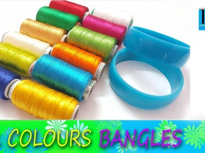 How to make colourful silk thread bangles at home    DIY    Multicolour silk thread bangles