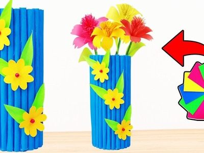 How to Make Flower Vase From Color Paper At Home DIY Colour Paper Crafts DIY Crafts(Paper Crafts)