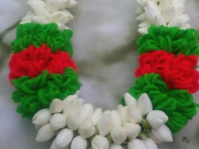 How to make. woolen nool with jasmine flower. reception garland