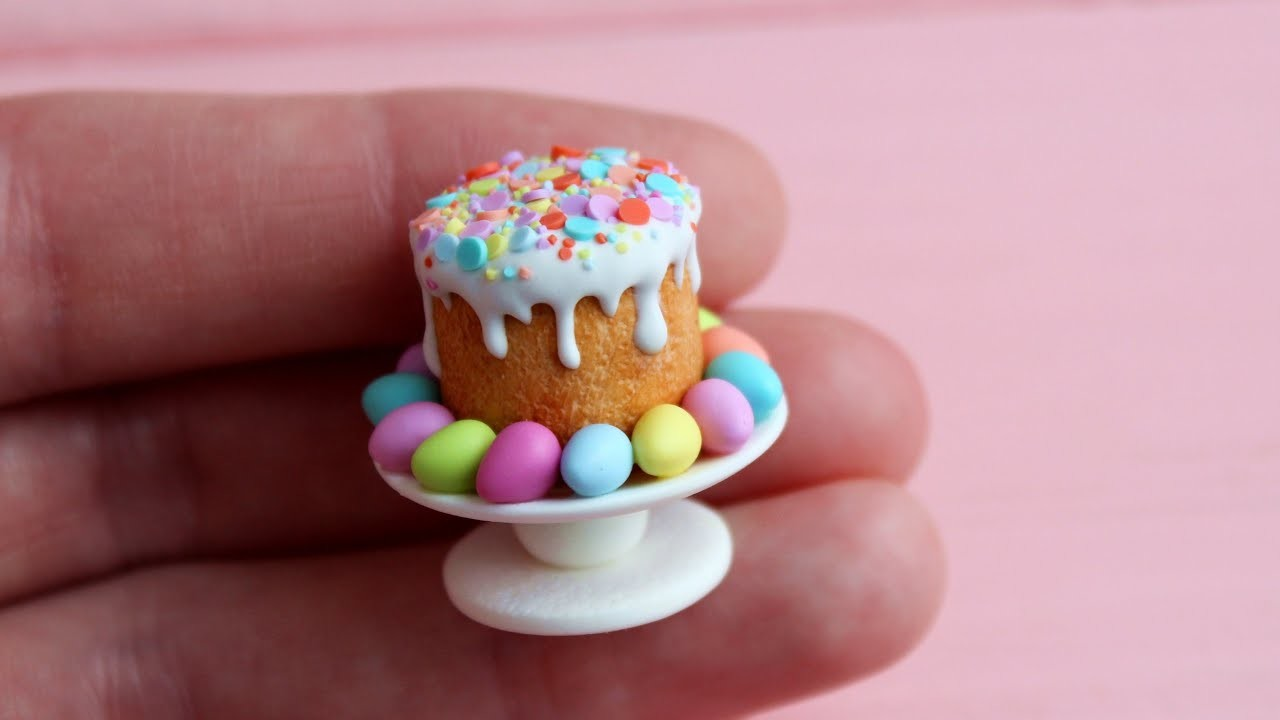 Miniature Easter cake with eggs. Miniature is made of polymer clay. Tutorial. DIY. Пасхальный кулич