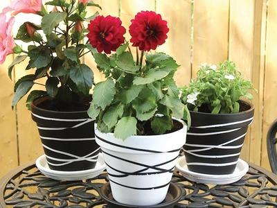 ????????Painted Rubber Band Terra Cotta Flower Pots | Garden DIY????????