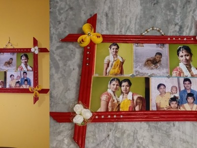 Photo Frame making at home with newspaper. Easy way to make photo frame.