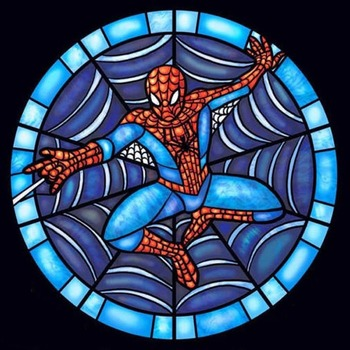 CRAFTS Stained Glass Spiderman Cross Stitch Pattern***LOOK***